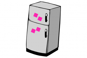 Refrigerator with post-its