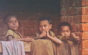 three small children