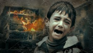 weeping boy in war zone