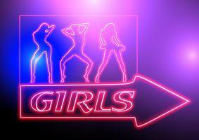 neon lighting of dancing girls