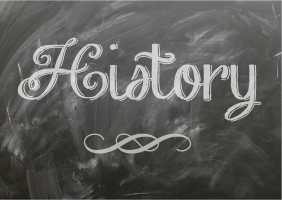 The word History written on a blackboard
