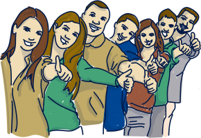 Group of 7 people with their thumbs up