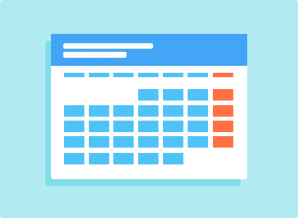 Clipart of a calendar. The month is represented by blue boxes, the Sundays are orange.