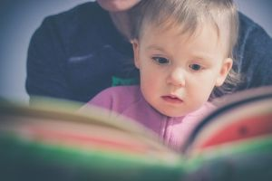 Toddler sits on a person's lap and looks in a book.