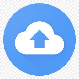 A blue circle with a white cloud. There is a blue arrow in the cloud pointing upwards.