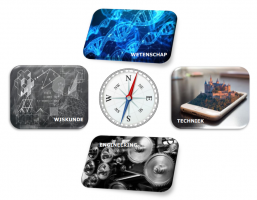 a compass with images around domains of mathematics, science, technology and engineering