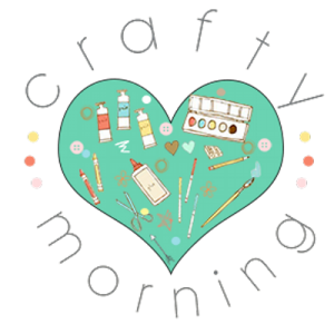 Crafty Morning logo consists of a heart in green color filled with craft materials