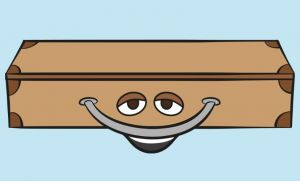 Clipart of a suitcase smiling