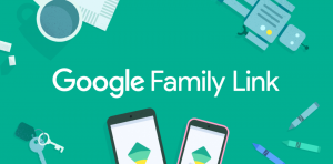 Title Google Family Link on green background with images of keys and some smartphones