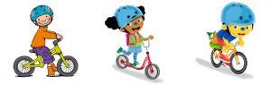 Jules, Loeloe en Pompom op de fiets