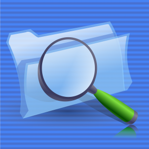 Magnifying glass on computer folder