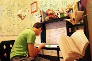 Boy studying in his room at his desk