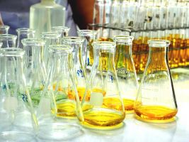 bottles in a lab