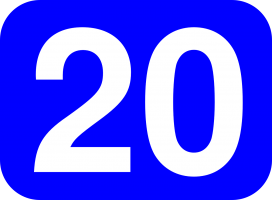 Numeral twenty in white color on blue background