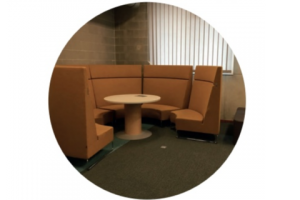 brown seats around a round table
