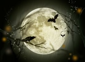 moon with scary creatures in silhouette in front