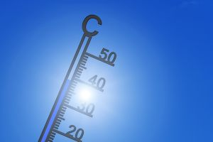 thermometer on which the sun shines