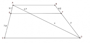 parallel line segments that are cut by a line segment