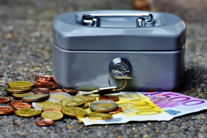 money case with coins and bills