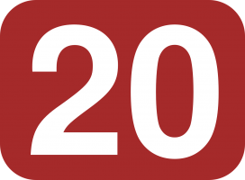 Number twenty on dark red background