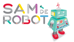 text 'sam the robot' and image of a robot