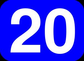 Number twenty on a blue background