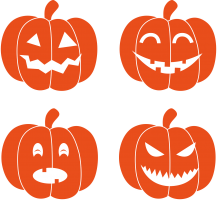 Four pumpkin faces