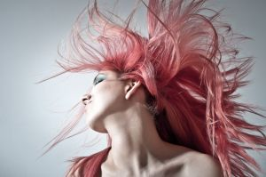 woman with pink hairstyle