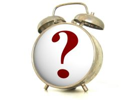 Alarm clock with question mark